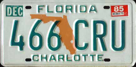Florida 1985 passenger issue. After the ABC-123 format ran out some counties began issuing plates in a 123-ABC reverse format. These plates reached the ... & Florida