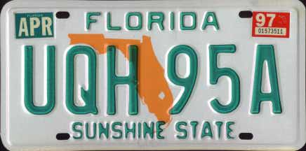 Florida 1997 passenger issue. In 1994 Florida responded to a rash of tourist killings in the state. They discontinued the use of special  Lease  plates on ... & Florida