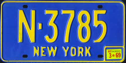New York 1969 passenger issue. This orange on blue base was first issued in 1966 and was used with plate stickers through the end of 1973.
