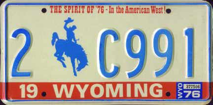 1974  Wyoming Cowboy Horse Yellow License Plate # 2-490E